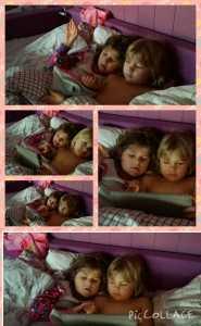 Det er søskenkjærlighet det! Victoria som takler litt armer og bein og urolig lillesøster ved siden av...